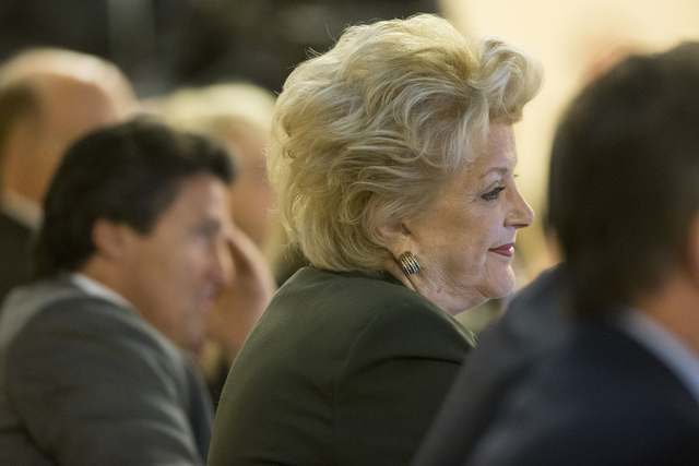 Las Vegas Mayor Carolyn Goodman looks on during a meeting with Oakland Raiders, local government and UNLV officials to discuss a proposed Las Vegas dome stadium at the Stan Fulton Building at UNLV ...