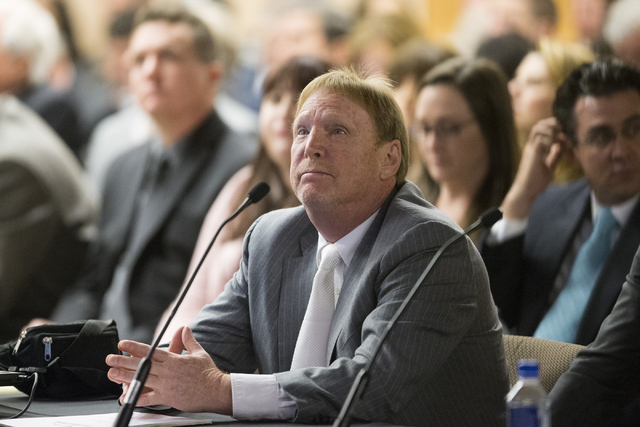 Oakland Raiders owner Mark Davis looks on during a meeting to discuss a proposed Las Vegas dome stadium with local government and UNLV officials at the Stan Fulton Building at UNLV on Thursday, Ap ...