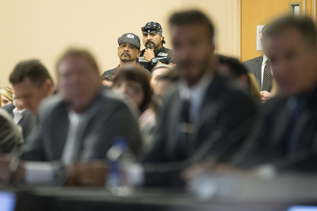 Fans look on during a meeting with Oakland Raiders, local government and UNLV officials to discuss a proposed Las Vegas dome stadium at the Stan Fulton Building at UNLV on Thursday, April 28, 2016 ...