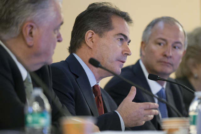 UNLV president Len Jessup speaks during a meeting with Oakland Raiders, local government and other UNLV officials to discuss a proposed Las Vegas dome stadium on Thursday, April 28, 2016, in Las V ...