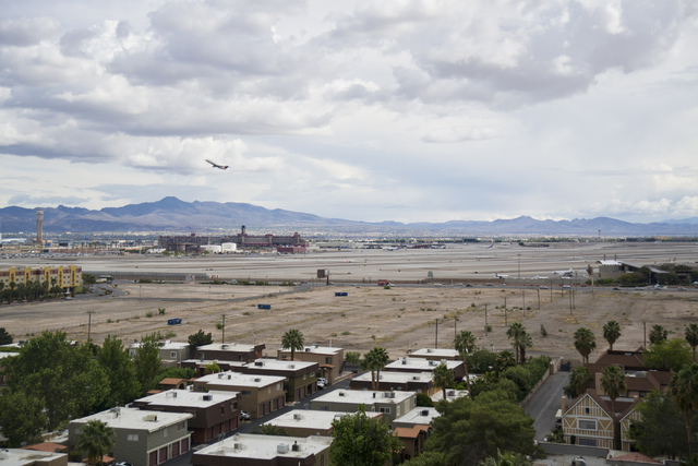A vacant lot near the northeast corner of Tropicana Boulevard and Koval Lane is seen from the top floor of Wyndham Grand Desert on Monday, April 11, 2016. The lot is the proposed location for a $1 ...