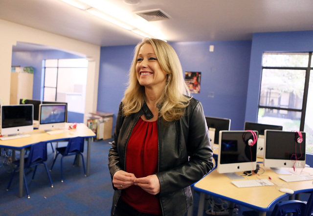 Camille McCue, director of technology innovations, participates in an interview in a Lower School discovery lab at The Adelson Educational Campus Tuesday, March 15, 2016, in Las Vegas. The school  ...