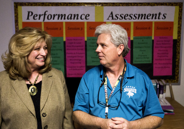 Silvestri Junior High School principal Merry Sillitoe, left, and technology instructor John Walz talk about STEM education on Tuesday, March 29, 2016. The school recently received a $14.1 million  ...