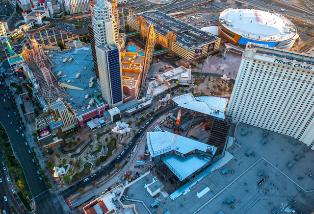 The Park leading to the T-Mobile Arena is shown in this aerial photo Tuesday, March 14, 2016. The $375 million venue, built by Anschutz Entertainment Group and MGM Resorts International, opens Wed ...