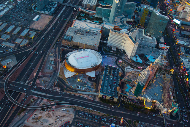 T-Mobile Arena is shown in this aerial photo Tuesday, March 14, 2016. The $375 million venue, built by Anschutz Entertainment Group and MGM Resorts International, opens Wednesday, April 6 with a c ...