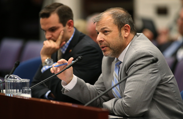 Nevada Assembly Republicans Derek Armstrong, left, and Paul Anderson present an alternative tax plan in a committee hearing at the Legislative Building in Carson City, Nev., on Tuesday, April 7, 2 ...