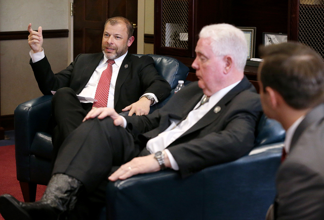 Nevada Assembly Republican leaders, from left, Paul Anderson, John Hambrick and Derek Armstrong talk about a new tax plan that offers different options than those laid out last week by Gov. Brian  ...