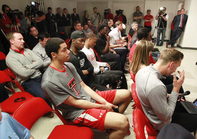 Texas Tech student athletes listen as Texas Tech athletic director Kirby Hocutt announces that men's basketball coach Tubby Smith has left the program to coach at Memphis on Thursday, April, 14, 2 ...