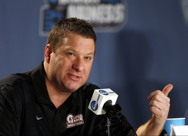 Arkansas Little Rock coach Chris Beard responds to questions during a news conference before a game last month during the NCAA Tournament in Denver. (AP Photo/David Zalubowski)