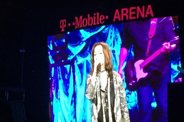 "A video screen shows Martina McBride performing during a ""stress test"" at T-Mobile Arena on Thursday, March 31, 2016, ahead of the arena's hard opening on April 6. Employees of MGM and constructio ..."