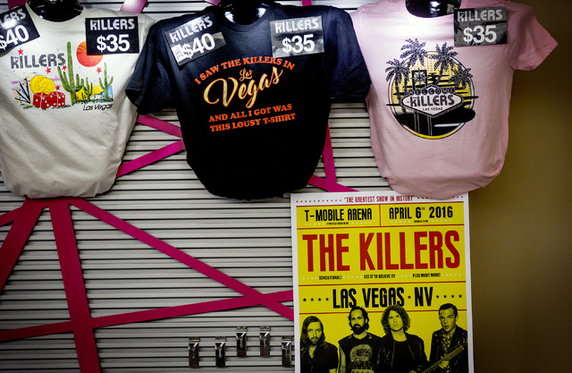 Souvenirs for The Killers are displayed for sale inside T-Mobile Arena on Wednesday, April 6, 2016. Jeff Scheid/Las Vegas Review-Journal Follow @jlscheid