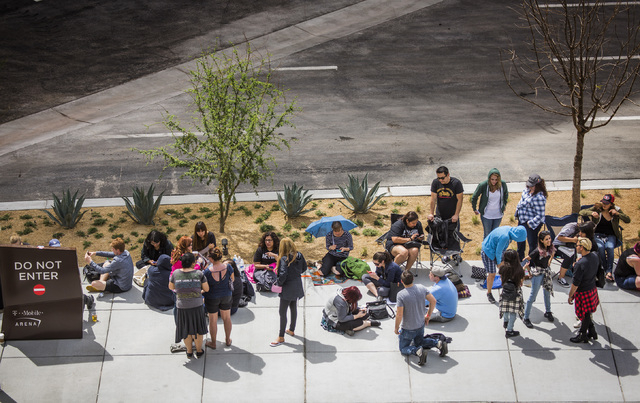 The Killer fans wait in line for the opening of T-Mobile Arena on Wednesday, April 6, 2016. Some fans got in line as early as Tuesday morning. Jeff Scheid/Las Vegas Review-Journal Follow @jlscheid
