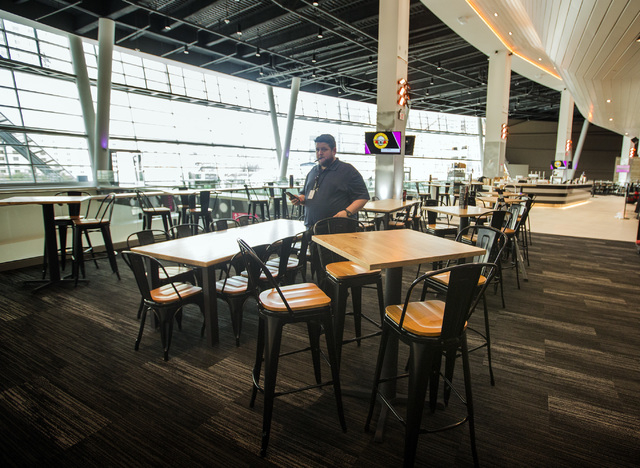 A bar in the loge level at T-Mobile Arena is seen on Wednesday, April 6, 2016. Jeff Scheid/Las Vegas Review-Journal Follow @jlscheid