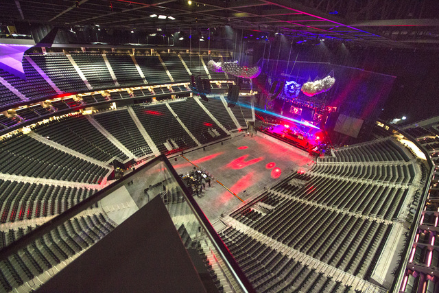 The interior at T-Mobile Arena is seen during a light check for The Killers concert on Wednesday, April 6, 2016. Jeff Scheid/Las Vegas Review-Journal Follow @jlscheid