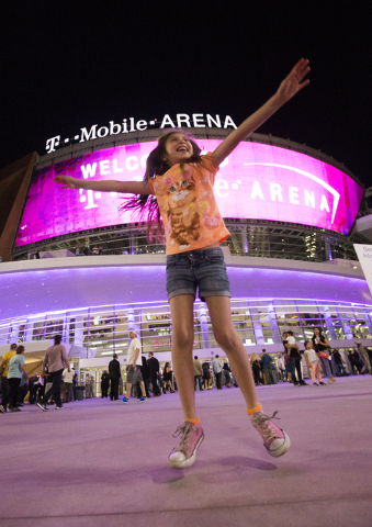 Kaitlin De La Cruz, 9, dances on her birthday outside T-Mobile Arena during the opening night of the new Las Vegas entertainment venue, Wednesday, April 6, 2016. Benjamin Hager/Las Vegas Review-Jo ...