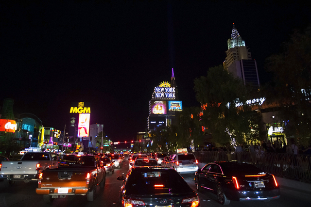 Traffic was backed up at Las Vegas Boulevard and Tropicana Avenue during the opening of the new T-Mobile Arena, Wednesday, April 6, 2016. Benjamin Hager/Las Vegas Review-Journal