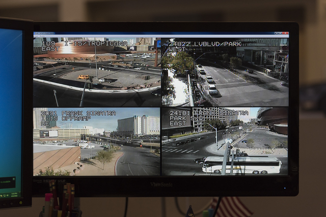 Monitors show traffic flow at the Freeway and Arterial System of Transportation traffic center during T-Mobile Arena's opening day in Las Vegas Wednesday, April 6, 2016. The 20,000 seat arena's op ...