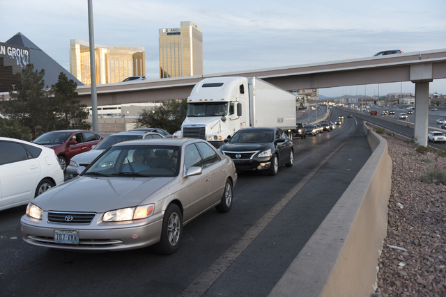 Traffic exits Interstate 15 during T-Mobile Arena's opening day in Las Vegas Wednesday, April 6, 2016. The 20,000 seat arena's opening event featured a concert by The Killers, Wayne Newton and Sha ...
