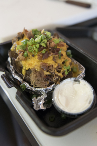A loaded spud dish is seen at Tucky's Smokin' BBQ at 308 N. Boulder Highway in Henderson is seen Friday, March 25, 2016. Jason Ogulnik/Las Vegas Review-Journal