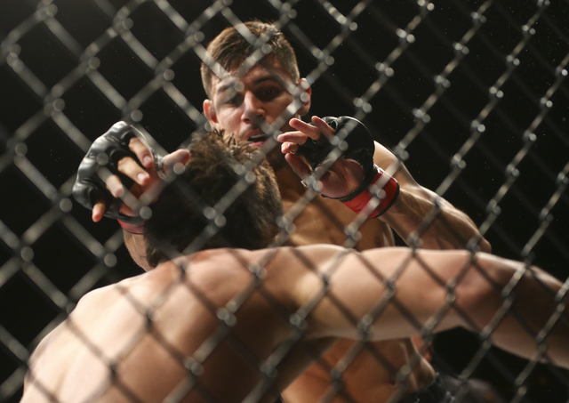 Yair Rodriguez lands a flying roundhouse kick against Andre Fili, resulting in a knockout, during a featherweight bout in UFC 197 at the MGM Grand Garden Arena in Las Vegas on Saturday, April 23,  ...
