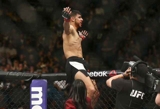 Yair Rodriguez reacts after defeating Andre Fili by knockout during a featherweight bout in UFC 197 at the MGM Grand Garden Arena in Las Vegas on Saturday, April 23, 2016. Chase Stevens/Las Vegas  ...