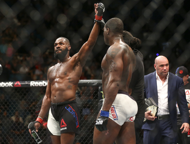 Jon Jones reacts after defeating Ovince Saint Preux by unanimous in an interim light heavyweight championship bout at UFC 197 at the MGM Grand Garden Arena in Las Vegas on Saturday, April 23, 2016 ...
