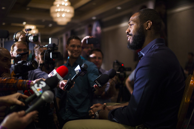 Jon Jones speaks with reporters ahead of UFC 197 at the MGM Grand hotel-casino in Las Vegas on Thursday, April 21, 2016. Chase Stevens/Las Vegas Review-Journal Follow @csstevensphoto