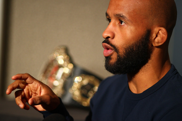 Demetrius Johnson speaks with reporters ahead of UFC 197 at the MGM Grand hotel-casino in Las Vegas on Thursday, April 21, 2016. Chase Stevens/Las Vegas Review-Journal Follow @csstevensphoto