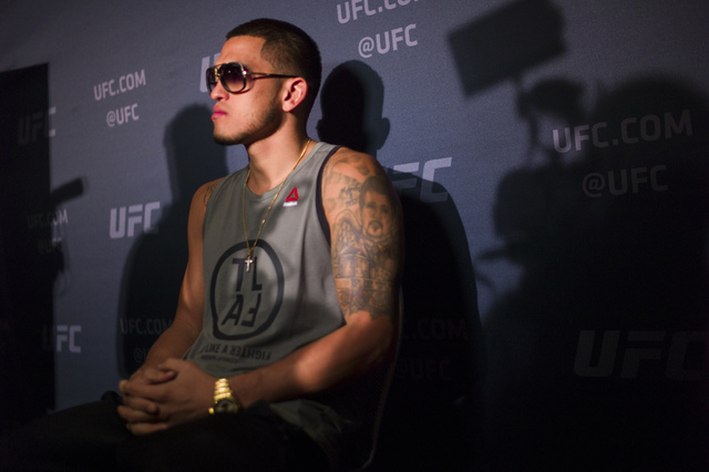 Anthony Pettis speaks with reporters ahead of UFC 197 at the MGM Grand hotel-casino in Las Vegas on Thursday, April 21, 2016. Chase Stevens/Las Vegas Review-Journal Follow @csstevensphoto