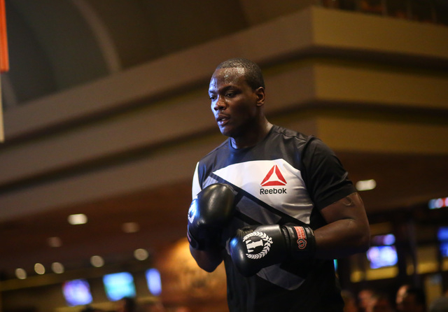 Ovince Saint Preux, right, participates in an open workout ahead of UFC 197 at the MGM Grand hotel-casino in Las Vegas on Wednesday, April 20, 2016. Chase Stevens/Las Vegas Review-Journal Follow @ ...