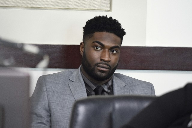 Former Vanderbilt football player Cory Batey listens during the opening day of his trial in Judge Monte Watkins' courtroom in the A. A. Birch building in Nashville, Tenn., Monday, April 4, 2016. B ...