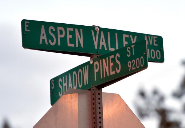 The street sign at Aspen Valley Avenue and Shadow Pines Street is seen Monday, April 25, 2016, in Las Vegas. (David Becker/Las Vegas Review-Journal Follow @davidjaybecker)