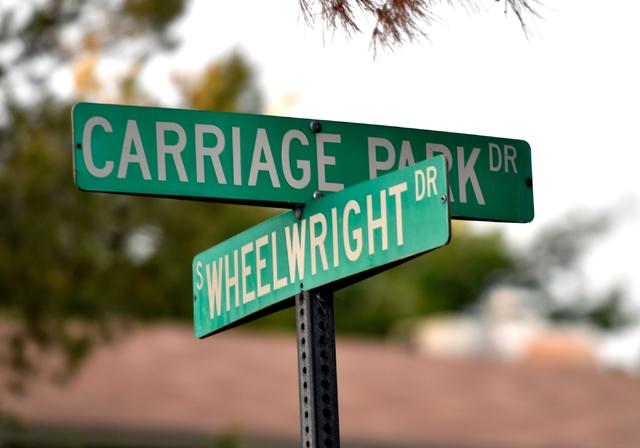 Carriage Park Drive at Wheelwright Drive is seen Monday, April 25, 2016, in Las Vegas. (David Becker/Las Vegas Review-Journal Follow @davidjaybecker)