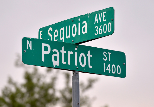 Sequoia Avenue at Patriot Street is seen Monday, April 25, 2016, in Las Vegas. (David Becker/Las Vegas Review-Journal Follow @davidjaybecker)