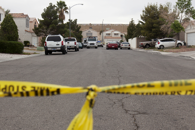 Police investigate the scene of a fatal stabbing in the 3800 block of James Paul Avenue on Monday, April 25, 2016, in Las Vegas. Rachel Aston/Las Vegas Review-Journal Follow @rookie__rae)