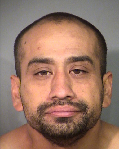 Rene Alfaro is shown in this booking photo provided by Las Vegas police. Alfaro was arrested Monday in connection with a Saturday shooting on Aspen Valley Avenue. (Las Vegas Metropolitan Police De ...