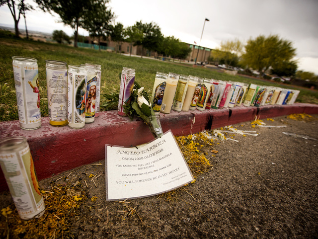 A make shift memorial for shooting victim Angelo Barbosa 15, is seen Monday, April 25, 2016 at Hollywood Recreation Center, 1650 S. Hollywood Boulevard. Jeff Scheid/Las Vegas Review-Journal Follow ...