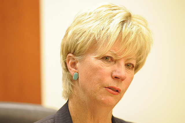 Kim Wallin speaks with the Review-Journal editorial board on Friday, Sept. 5, 2014. (Mark Damon/Las Vegas Review-Journal)