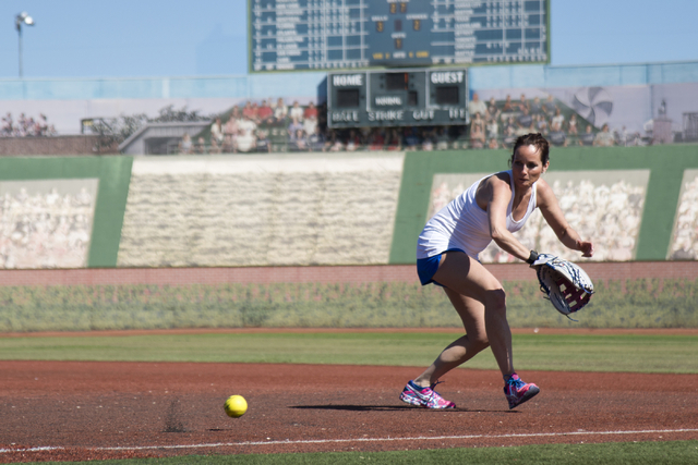 Tammy Higginbatham of the Derby Girls ASP Combat team practices before the United States Specialty Sports Association slo-pitch softball tournament at Freedom Park in Las Vegas on Friday, April 1, ...