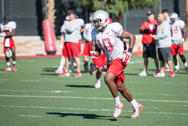 UNLV freshman wide receiver Darren Woods Jr. (10) runs up the field during a  team practice at UNLV's Rebel Park on Friday, April 1, 2016, in Las Vegas. Donavon Lockett/Las Vegas Review-Journal