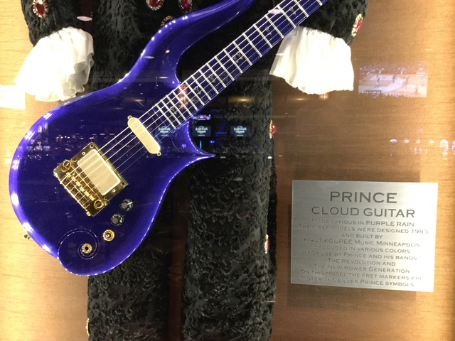 """A Cloud guitar is displayed at the Hard Rock hotel-casino at 4455 Paradise Road in Las Vegas on Thursday, April 21, 2016. Prince made the guitar famous with """"Purple Rain."""" (Greg Haas/Las Vegas Rev ..."""
