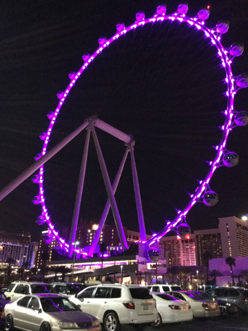 The High Roller at the Linq is lighted purple to remember Prince in Las Vegas on Thursday, April 21, 2016. Prince died Thursday at his home in Minnesota. (Greg Haas/Las Vegas Review-Journal) Follo ...