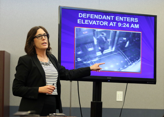 District Attorney Dena Rinetti gives her opening statement in the trial of Mark Picozzi in Clark County District Court at the Regional Justice Center Wednesday, April 13, 2016, in Las Vegas. (Rond ...