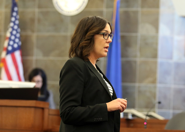District Attorney Dena Rinetti gives her opening statement in the trial of Mark Picozziat in Clark County District Court at the Regional Justice Center, Wednesday, April 13, 2016, in Las Vegas. (R ...