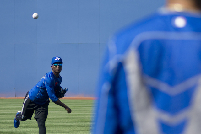 Rafael Montero (50) throws a ball during media day for the Las Vegas 51s at Cashman Field in Las Vegas on Tuesday, April 5, 2016. The event was held ahead of opening Thursday's season opene ...