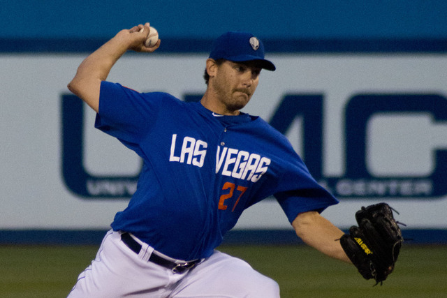 Las Vegas 51s pitcher Seth Lugo, shown against the Sacramento River Cats on April 14 at Cashman Field, lasted only 2 2/3 innings Tuesday night in a game at Sacramento. (Daniel Clark/Las Vegas Revi ...