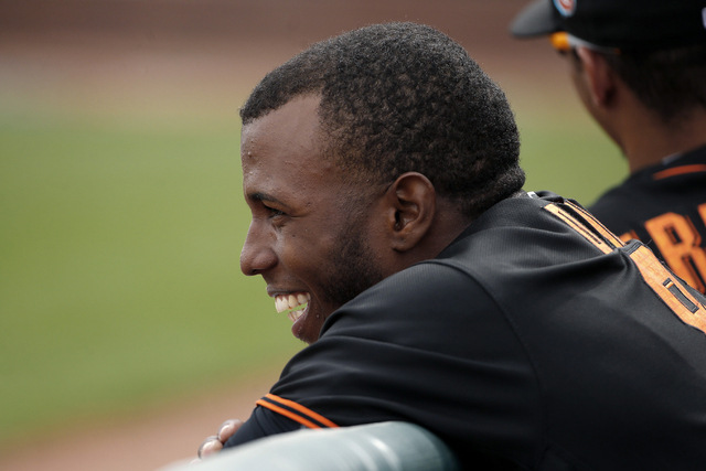 The San Francisco Giants' Gorkys Hernandez, shown during spring training, hit a two-run, walk-off homer Thursday for the Sacramento River Cats in their 3-1 victory over the Las Vegas 51s. (AP Phot ...