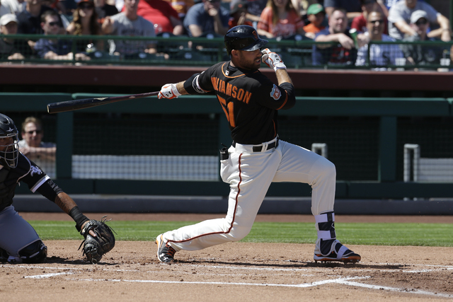 The San Francisco Giants' Mac Williamson, shown during spring training, hit two solo home runs for the Sacramento River Cats in a 3-1 PCL victory over the Las Vegas 51s on Friday in Sacramento, Ca ...