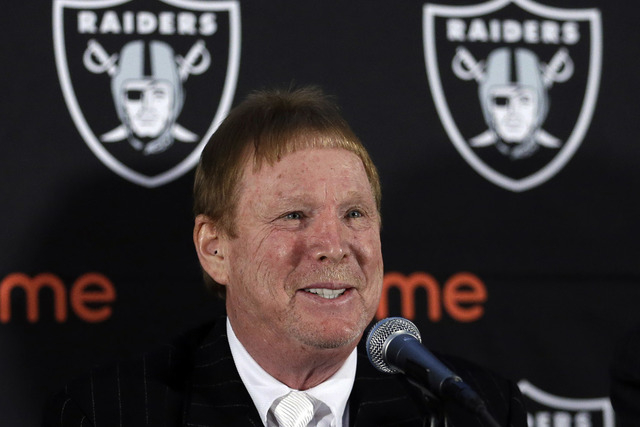 Oakland Raiders Owner Mark Davis speaks during a news conference Thursday, Feb. 11, 2016, in Oakland, Calif. (AP Photo/Ben Margot)