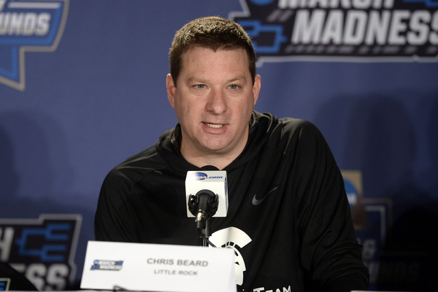 Mar 16, 2016; Denver, CO, USA; Arkansas Little Rock Trojans head coach Chris Beard speaks to the media during a practice day before the first round of the NCAA men's college basketball tournament  ...